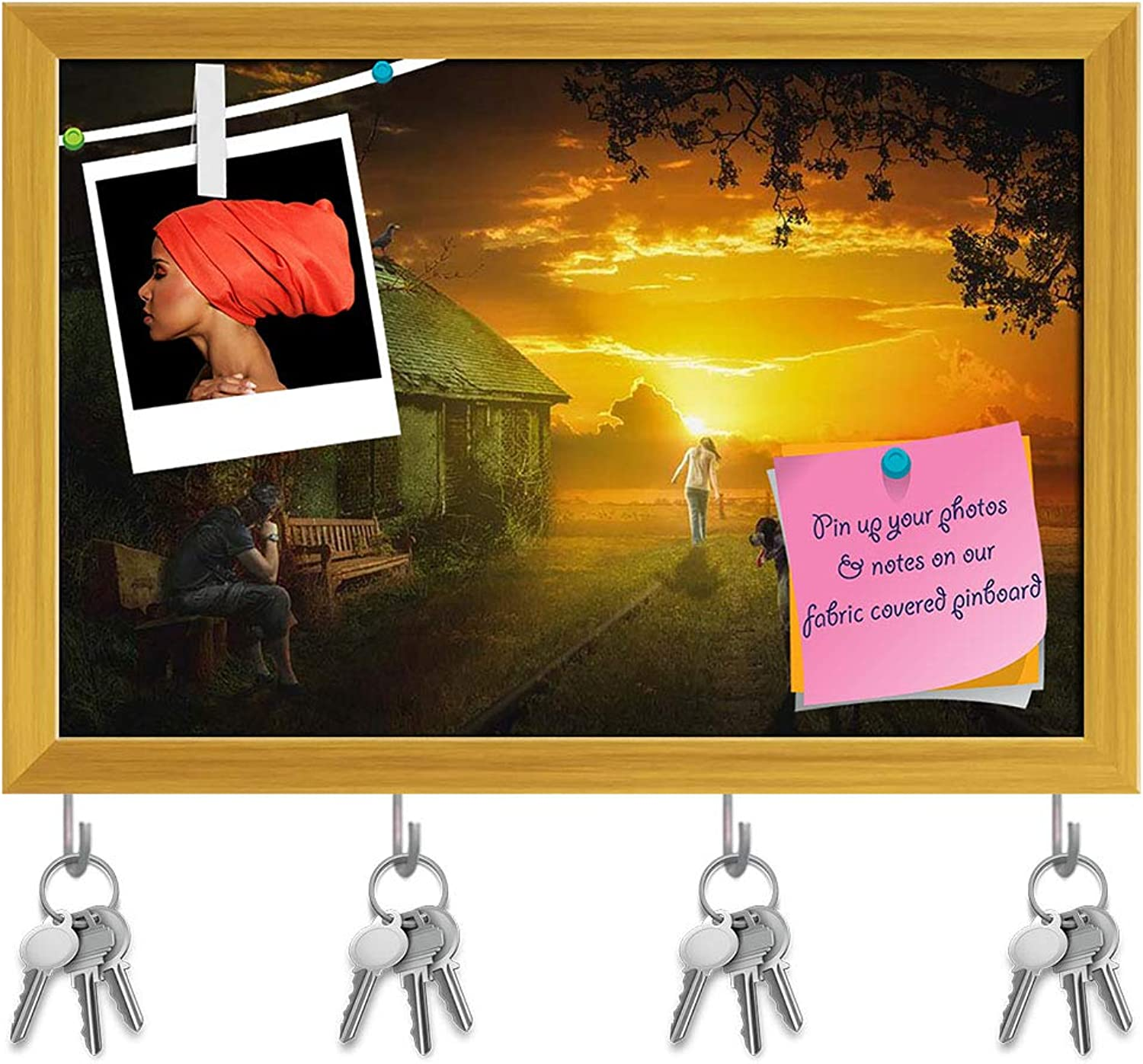 Artzfolio Going Into The Future is Always Someone Left Key Holder Hooks   Notice Pin Board   golden Frame 17.6 X 12Inch