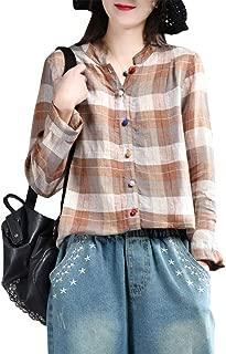utcoco Women's Stylish V-Neck Long Sleeve Plaid Grid Button-up Linen Cotton Shirt Tunic