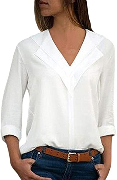 Camisas Mujer Tallas Grandes,❤️ Modaworld Moda Camiseta sólida Mujer chifón Blusas de Oficina de Manga Larga Lisa de Mujer Elegantes de Vestir Fiesta ...