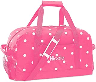 Pink with White Dots Kids Personalized Duffel Bags by Lillian Vernon