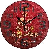 sam-shop Reloj de Cocina Big Merry Christmas Snow Silent Vintage Reloj de Pared Redondo de Madera