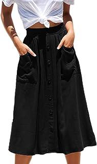 29d1d56f60c6 Meyeeka Womens Casual High Waist Flared A-line Skirt Pleated Midi Skirt  with Pocket