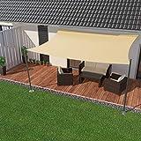IBIZSAIL Sonnensegel wasserabweisend Sonnenschutz für Garten Balkon aus PES rechtwinklig-400 x 200 cm-Creme(inkl. Spannseilen)