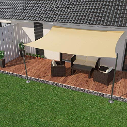 IBIZSAIL Sonnensegel wasserabweisend Sonnenschutz für Garten Balkon aus PES rechtwinklig-400 x 300 cm-Creme(inkl. Spannseilen)