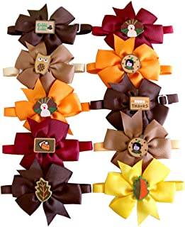 Masue Pets Thanksgiving Dog Ties Bowties for Fall Pet Ties Brown OrangeTurkey Leaf Dog Neckties Dog Bow Tie Collar Dog Grooming Accessories