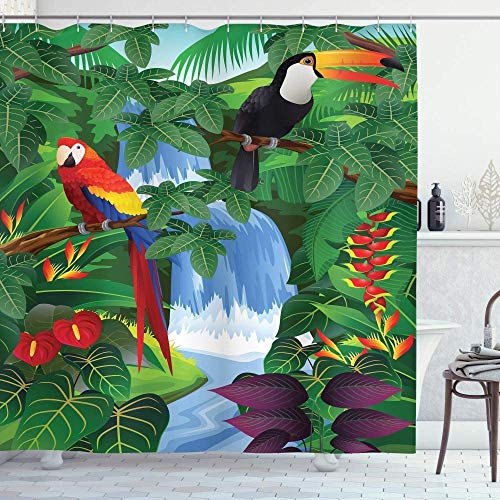 Rainforest Exotic Tropical Wildlife Toucan Perched On The Branch Design Pattern 3D Printed Shower Curtain Waterproof Polyester Material 71x71 Inch 12 Hook Bathroom Pendant Home Decoration