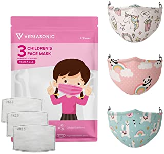 3 Pack of Versasonic Premium Kid Face Mask 3-Ply Reusable Face Mask - Breathable Comfort, Non-Surgical Safety Mask, Machin...