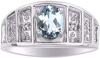 RYLOS Birthstone Ring مع الأحجار الكريمة البيضاوي والماس الأصلي في الفضة الاسترليني .925-7X5MM خواتم الحجر اللون