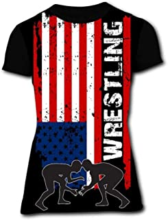 B1TS Women's Round Collar 3D Print T-Shirt American Flag Wrestling Shorts Sleeve T Shirts Tops Tees