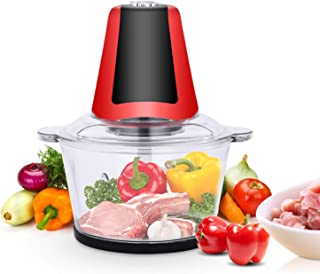 Electric Food Chopper, 3L BPA-Free Glass Bowl Blender Grinder, with Fast and Slow 2-Speed and 4 Sharp Blades, for Meat, Ve...