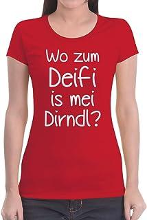 Shirtgeil Oktoberfest Wiesn Shirt Wo zum Deifi is MEI Dirndl Frauen T-Shirt Slim Fit