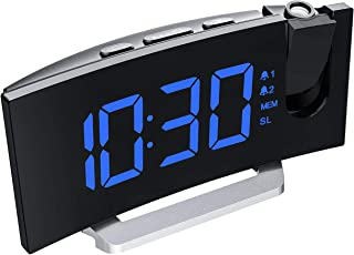 Mpow Projection Alarm Clock, 5'' LED Curved-Screen Digital Alarm Clock, 15 FM Radio, Dual Alarm with 4 Alarm Sounds, 6 Dimmer, 12/24 Hour, USB Phone Charger, Projection Clock on Ceiling Bedroom