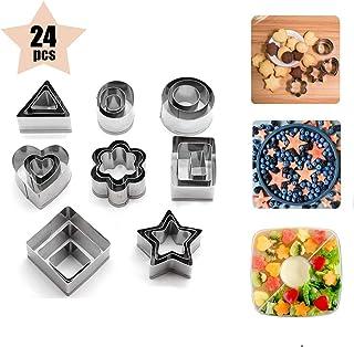 RVS Mini Cookie Cutters, Set van 24, 8 Vormen 3 Maten Voedsel & Koekjes Vorm voor Icing Gebak Suiker Taart Decoratie