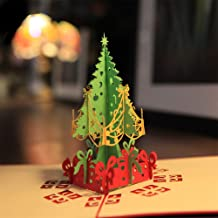 Sanwooden Lovely Greeting Card Handmade 3D Pop Up Christmas Tree Greeting Card Holiday Xmas Happy New Year Gift Fashion Ch...