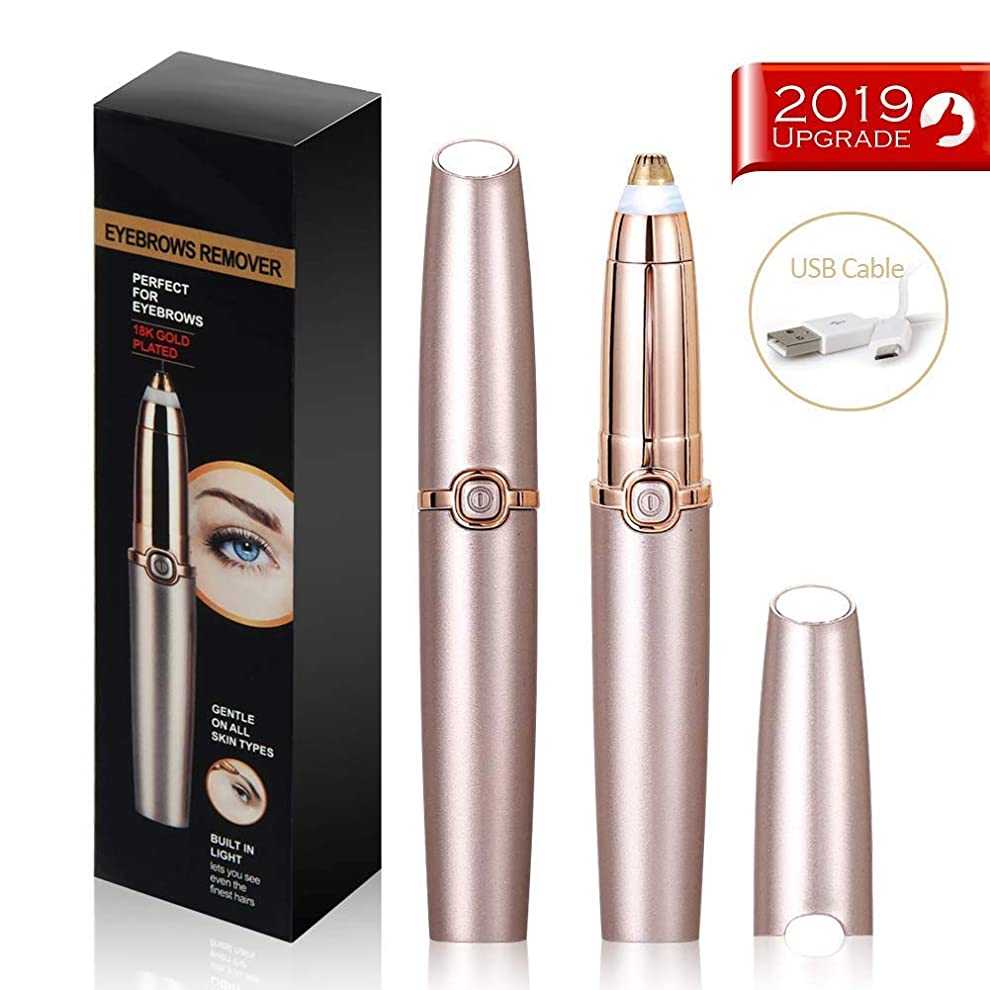 パッド現実プロット眉毛脱毛器ペン、女性用の完璧な精密電動眉毛トリマー、ビルトインLEDライト、USB充電式、クリーニングブラシ