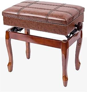 Gprice Automatyczny podest stołek z litego drewna, luksusowy stołek fortepianowy solo z półką, 55 x 34 x 47-57 cm, dla nau...