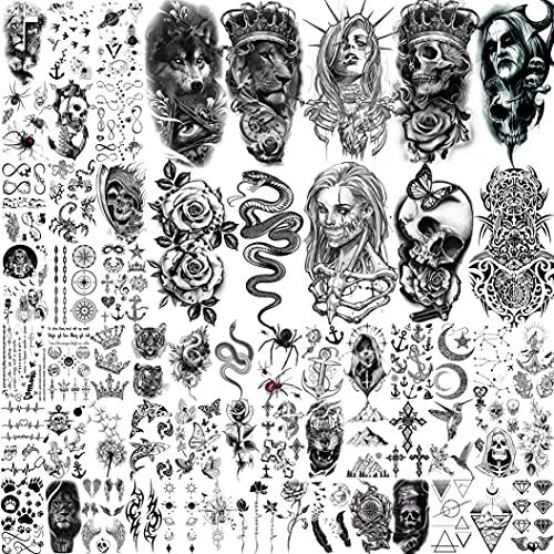 Shegazzi 62 Blätter Wolf Löwe Temporäre Tattoos Männer Frauen Arm, 3D Temporary Tattoo Erwachsene Kinder Hals, Schwarz Gruselig Schädel Halloween Fake Tattoos Zum Aufkleben Auf Die Haut Schlange Blume