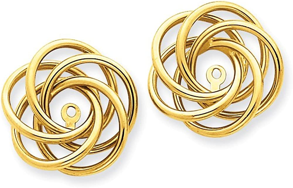 Genuine 14k Yellow Gold Polished Love Knot Earring Jackets 17x15mm