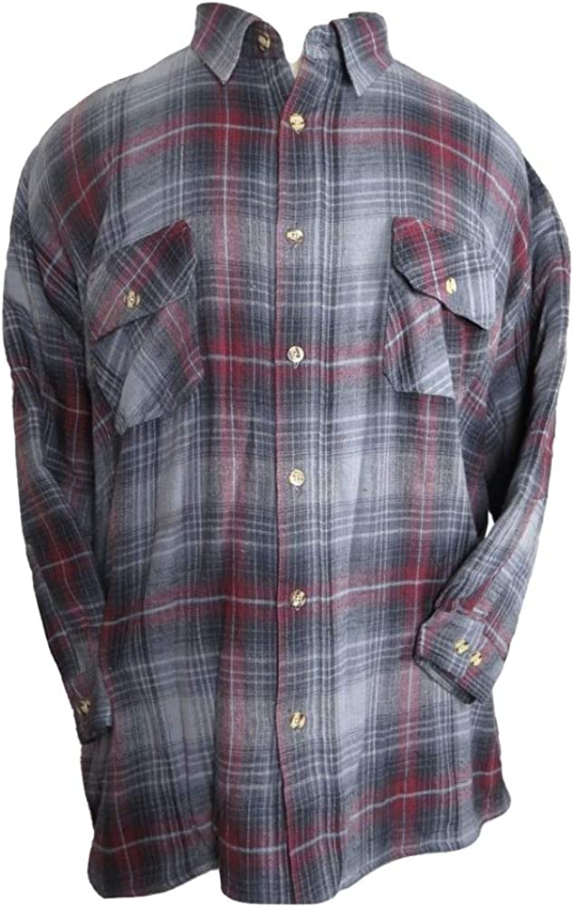 Big and Tall Beefy Super Soft Jersey Fleece Lined Flannel Shirts to 4XB and 4XT in Grey Plaid