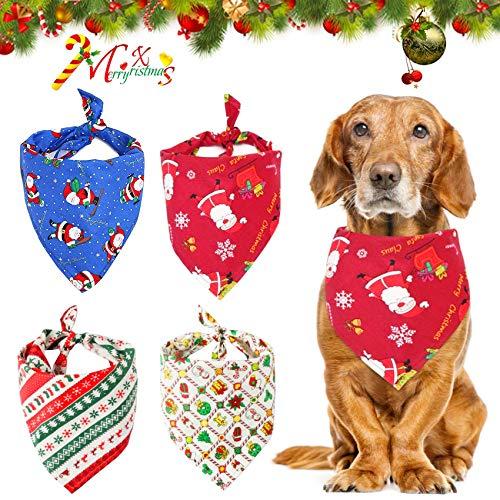 Sunshine smile Pañuelo Bufanda de Mascota Navidad, 4 Baberos Triángulo Bandanas para Gatos, Pañuelos para Perros, Bandanas Navideñas para Mascotas Babero, Baberos Lavables de Perros Gatos (D)
