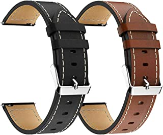 LDFAS Galaxy Watch 46mm Band, Genuine Leather Quick Release 22mm Watch Strap Compatible for Samsung Galaxy Watch 46mm, Gear S3 Frontier/Classic Smartwatch Brown+Black (2 Pack)