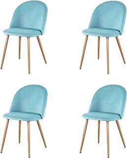 GroBKau - Juego de 4 sillas de salón de tela de terciopelo retro, tapizadas con patas de metal, estilo madera, sala de espera y muebles de oficina modernos (verde)