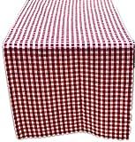 Zeitlose Tischdecke Tischläufer 50x170 cm Eckig Tischband Rot Weiß Kariert Baumwolloptik Gartendecke Küchendecke Landhaus (Tischläufer 50x170 cm rechteckig)