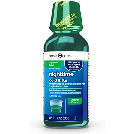 Amazon Basic Care Nighttime Cold & Flu Relief, Pain Reliever, Fever Reducer, Cough Suppressant & Antihistamine, 12 Fluid Ounces