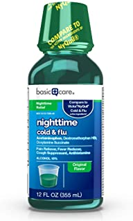 Basic Care Nighttime Cold & Flu Relief, Pain Reliever, Fever Reducer, Cough Suppressant & Antihistamine, 12 Fluid Ounces