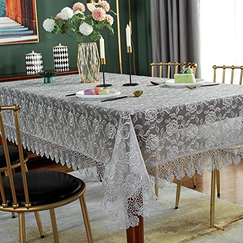 SUTAVIA Lace Tablecloth Embroidered Cover,Classic Rectangular Oblong 51' x 70' Inch Dustproof Table Cover,for Kitchen Dining Picnic Table and Wedding Banquet Home Decoration (Grey)