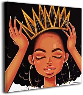 Gradylin Black Hippie African American Women Girl with Crown Canvas Wall Art for Home Decorations,Modern Stretched and Framed Giclee Artwork, Gallery Wrapped Ready to Hang 20