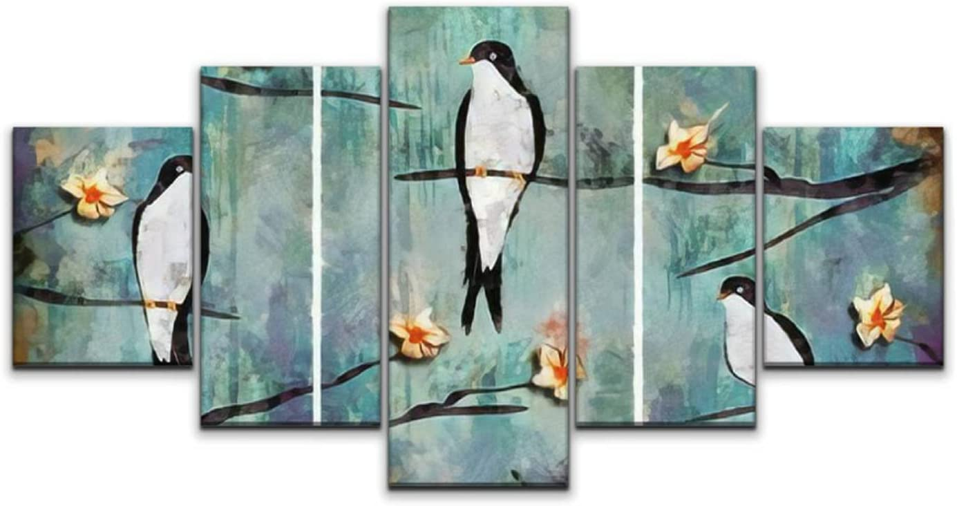 JOEJRTGRKADW Canvas sold out Art Wall Brand new Modern Oil Paintin Colorful Swallow