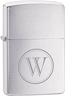 Personalized Zippo Brushed Chrome Armor Heavy Wall Lighter with free initial engraving