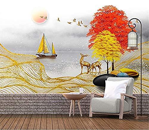 Papel tapiz 3D moderno Dormitorio Sala de estar Mural Arte de la pared Tv Sofá Fondo Decoración Lago Pais Pared Pintado Papel tapiz Decoración dormitorio Fotomural sala sofá mural-300cm×210cm