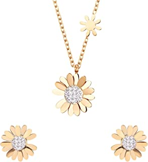 Ekavtor Gold Daisy Cubic Zirconia Necklaces Earrings jewelry Set flower Pendant, Hypoallergenic Stainless steel Chain , fo...