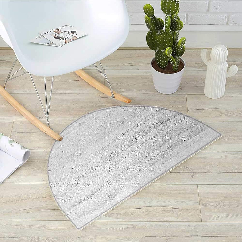 Grey Semicircle Doormat Close up Image of Hardwood Board Texture Oak Timber Surface Carpentry Themed Print Halfmoon doormats H 39.3  xD 59  Pale Grey