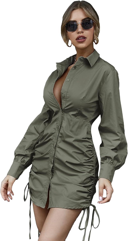 Floerns Women's Long Sleeve Button Front Peplum Waist Mini Shirt Dress