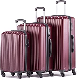 Expandable Luggage Sets Hardshell Spinner Luggage with TSA lock Lightweight Suitcase Set 3pcs including 20inch Carry On 24inch 28inch(Bordeaux)