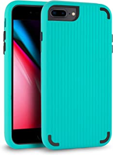 LMM Phone Case for iPhone 7 Plus iPhone 8 Plus 5.5 Case Cover 3 in 1 Hybrid PC+TPU Protective Case Compatible with iPhone 7P / 8P (Green Suitcase Lines)