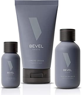 Shaving Kit for Men by Bevel - Includes Pre Shave Oil, Shaving Cream, and After Shave Balm, Clinically Tested to Reduce Sk...