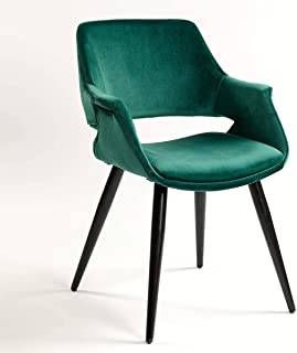 Bibeca Sillón tapizado Color Verde y Patas de Metal en Color Verde.