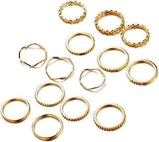 XYIYI 14 قطعة خمر المفاصل خاتم مجموعات تكديس ميدي الإصبع خواتم مجوهرات للنساء