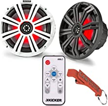 $230 » Kicker 45KM84L 8-Inch Marine Coaxial Boat Speakers Pair with 41KMLC LED Remote Controller Bundle. Black and White Grilles,...