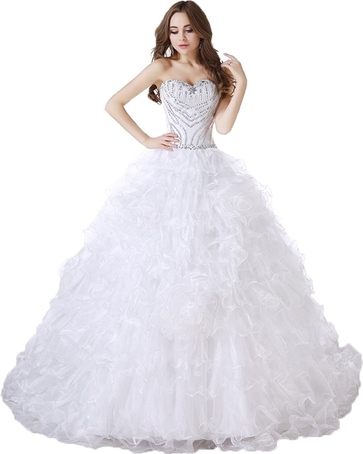 Heloise Women's Wedding Dresses Organza Beadings&Crystals Strapless Lace up Corset Sleeveless Ball Gown Bridal Dress