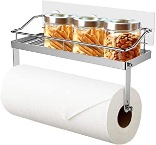 ODesign Paper Towel Holder with Shelf Adhesive Wall Mount 2-in-1 for Kitchen Shower Bathroom Organizer Storage SUS 304 Stainless Steel - No Drilling