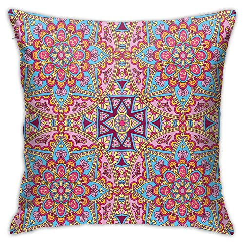 FULIYA Throw Pillow Covers 18x843 Inch,Arabesque Hippie Style Authentic Eastern In Moroccan Vivid Tones Artsy Motif,Holiday Cushion Pillowcases for Sofa Couch Home Decor New Year Gift