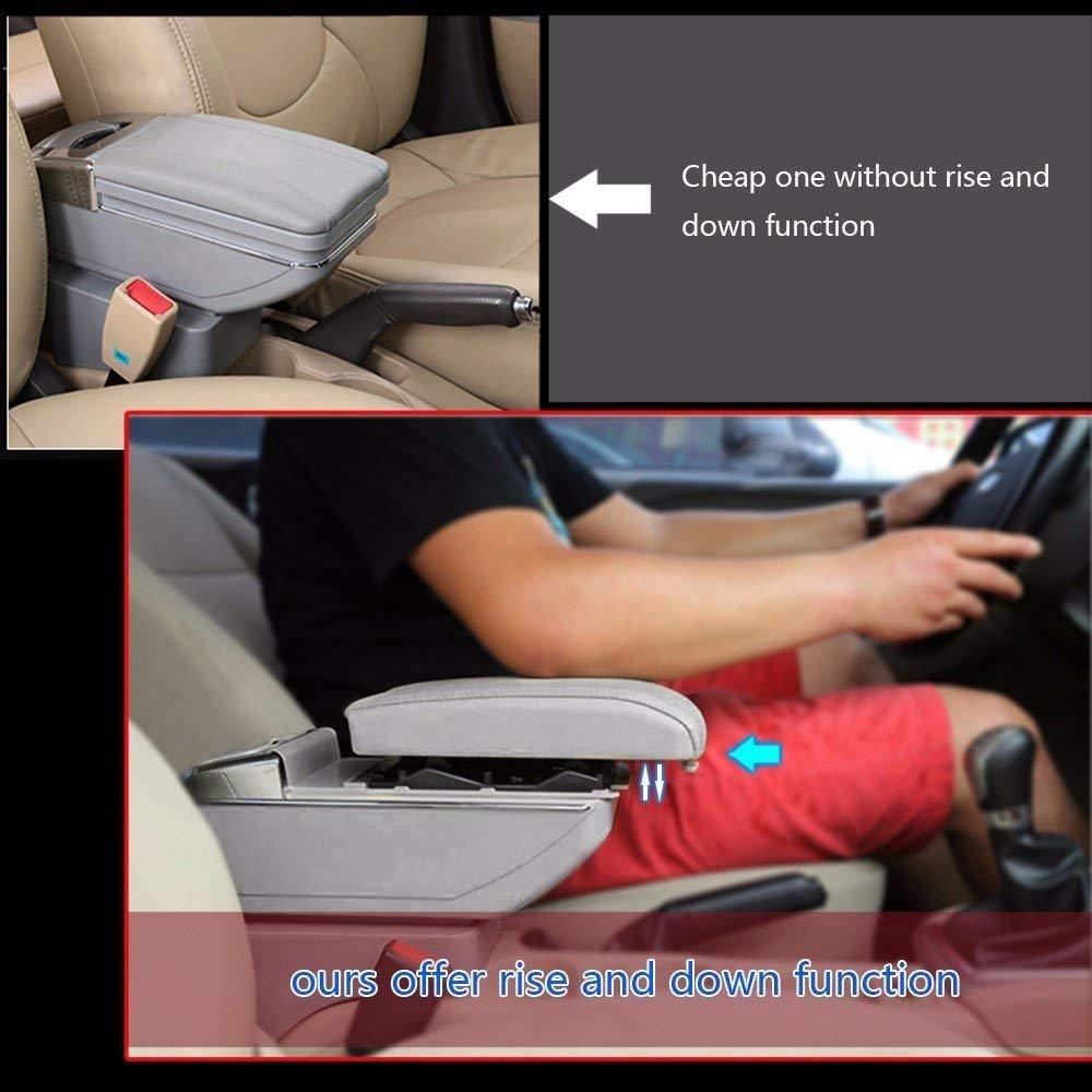 F/ür Polo 9N 2002-2009 High-End Auto Mittelarmlehne Armlehne Aufbewahrungsbox Zubeh/ör Mit Getr/änkehalter Und Abnehmbarer Aschenbecher 7 USB-Ladeanschl/üsse Organizer-Zubeh/ör Beige