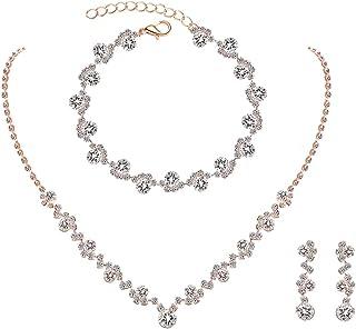 قرط كريستال حجر الراين قلادة سوار مجموعة مجوهرات لحفلات الزفاف