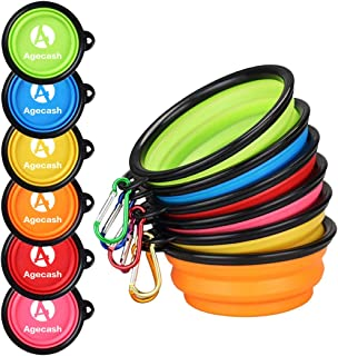 AGECASH A Collapsible Dog Bowl,Portable Travel Silicone Pet Bowl, Expandable for Dog/Cat Food Water Feeding,Portable Travel Bowl for Camping