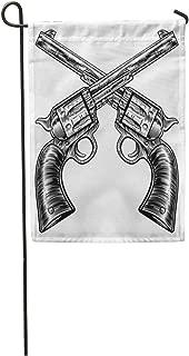 Semtomn Garden Flag Pair of Crossed Gun Revolver Handgun Six Shooter Pistols 12